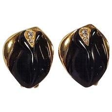 KJL Kenneth Jay Lane Avon earrings Midnight rose black buds