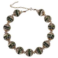 Chunky Lucite and Bakelite bead necklace metal caps crystal spacers