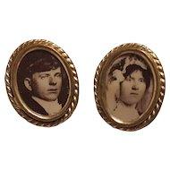 Portrait cufflinks bride and groom on celluloid