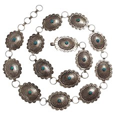 Native American concho belt sterling silver turquoise Navajo