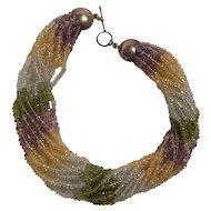 Multi gemstone torsade necklace peridot citrine amethyst sterling toggle