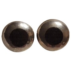 Taxco sterling silver Mexico earrings black inlay Nestor