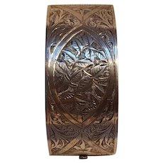Victorian sterling silver wide hinged bangle bracelet ivy leaf