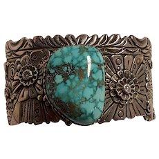 Ben Begaye Navajo sterling silver turquoise cuff bracelet blossoms swirls