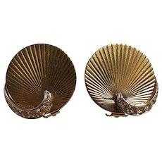 Boucher earrings embossed disk rhinestone accent
