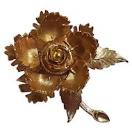 Warner day night mechanical flower pin disguised  leaf lever