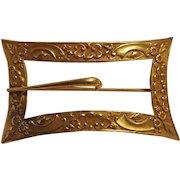 Antique sash pin buckle motif gilt brass