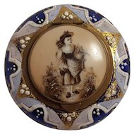 Antique enamel cobalt Bohemian glass jar box sepia flower girl on porcelain