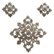 Sarah Coventry Leading Lady rhinestone pin earrings set