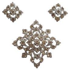 Sarah Coventry Leading Lady rhinestone pin earrings set