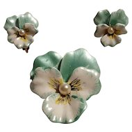 JJ enamel simulated pearl pansy flower pin clip earring set metallic green