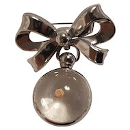 Coro mustard seed lucite bubble charm bow pin