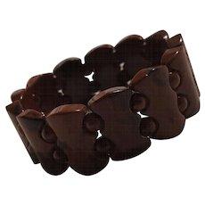 Mottled glass stretch bracelet brown and black
