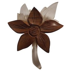 Carved lucite and wood flower pin circa 1940's