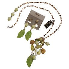 Hobe necklace and clip earrings set molded glass leaf beads