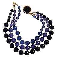 Chunky faceted lucite bead necklace blue three strand