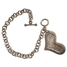 Sterling silver heart charm toggle bracelet Mexico