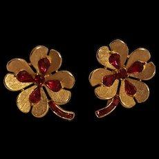 Trifari red rhinestone four leaf clover clip earrings