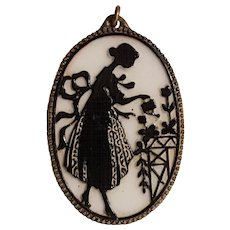 Bisque or porcelain silhouette pendant black on white garden maiden