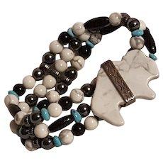 Carolyn Pollack  Relios white Buffalo stretch bracelet turquoise onyx howlite hematite