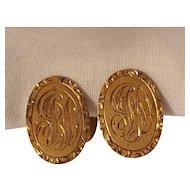 14K Gold men's cufflinks Gothic monogram initials J D