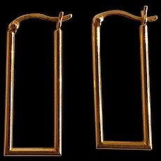 14K Yellow gold rectangular hoop earrings Israel pierced findings
