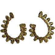 14K Yellow gold peridot earrings marquise cut stones