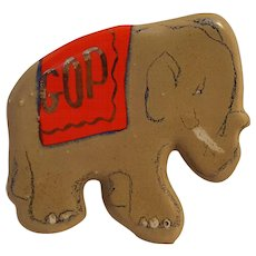 Vintage GOP ceramic chalkware elephant pin glazed