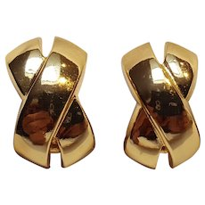 Christian Dior gold tone clip earrings X design