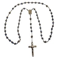 Creed sterling silver rosary blue crystal beads filigree caps