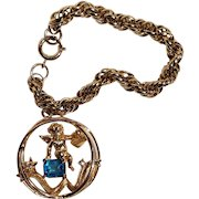 Coro birthstone cherub charm bracelet December topaz blue