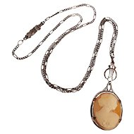 Ostby Barton OB cameo sterling silver pendant necklace