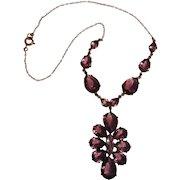 Purple open back crystal cluster drop necklace