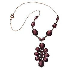 Purple open back crystal cluster drop necklace