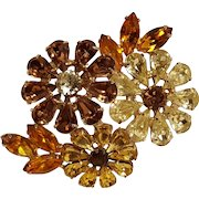 Joseph Wiesner rhinestone floral bouquet pin citrine amber topaz brown yellow colors