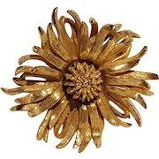 Castlecliff flower pin gold tone metal bending petals