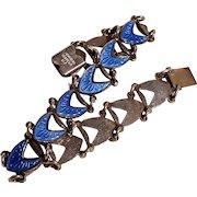 Volmer Bahner sterling silver blue enamel bracelet Denmark VB
