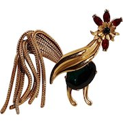 Napier rhinestone rooster pin shaggy fox chain tail 1960's