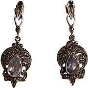 Sterling silver marcasite blue stone earrings pierced posts