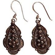 Sterling silver filigree drop earrings cannetaille work