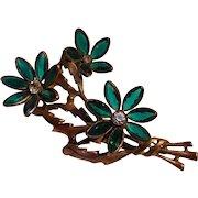 1940's Rhinestone flowers pin bezel set green petals cast metal