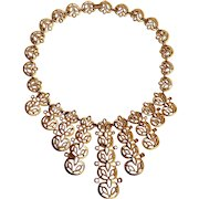 Trifari bib style necklace tapering openwork  drops