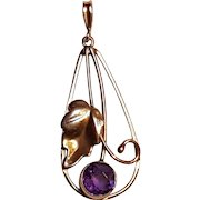 14K Gold amethyst pendant necklace Binder Brothers