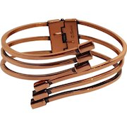 Renoir copper bracelet hinged clamper by-pass design