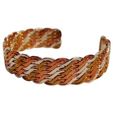Sterling silver brass copper woven cuff bracelet mixed metal