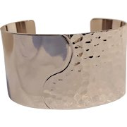 Monet wide cuff bracelet silver tone Modern design