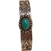 Fred Harvey era Southwest sterling silver stamped turquoise cuff bracelet
