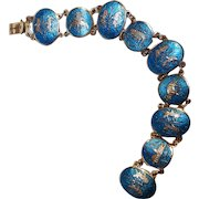 Siam sterling silver blue enamel bracelet Mekkala elephant dragon ship temple goddess