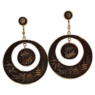 Amita Japan Damascene drop earrings scenic silver and gold overlay