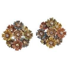 Pastel enamel petal rhinestone flower clip earrings pink green blue yellow